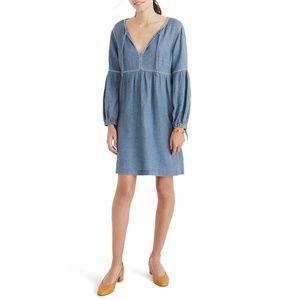 NWT Madewell embroidered indigo peasant dress